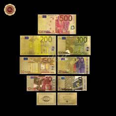 Europa - Bancnotele EURO  placate cu aur 24k - color - 7 bucati