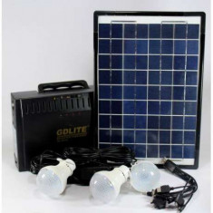 Kit Panou Solar GD8012 becuri invertor 220v Acumulator 12V 7A Radio panou mare