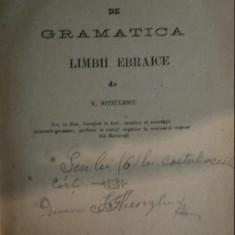 ELEMENTE DE GRAMATICA LIMBII EBRAICE de N. NITZULESCU, Bucuresti 1877 - Manual scolar