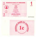 SV * Zimbabwe  LOT  1 - 5 - 10  CENTS  2007     UNC