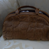 Geanta din piele si blana naturala maro model vintage