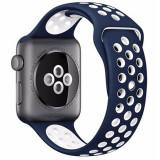Curea pentru Apple Watch 38 mm Silicon iUni Albastru-Alb