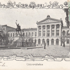 BUCURESTI, UNIVERSITATEA, CLASICA, TCV, CIRCULATA 1904 - Carte Postala Muntenia pana la 1904, Printata