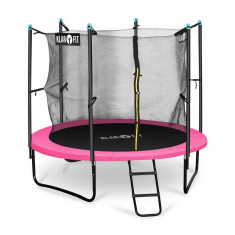 Klarfit Rocketgirl 250, 250 cm trambulină, plasă internă de securitate, scară largă, roz - Trambulina copii