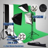 Studio foto-video Chroma key green 10x45W, 3x135, Fundal verde 2x3m...