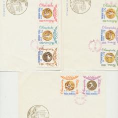 1964 set 3 plicuri FDC ROMANIA Olimpiada Tokyo medalii serie dantelata, Romania de la 1950, Sport