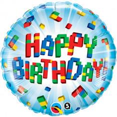 Balon Folie 45cm Happy Birthday Lego, Qualatex 25541
