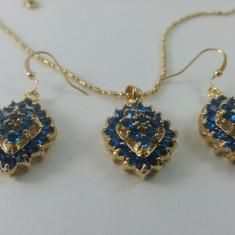 Set de bijuterii deosebit luxury, Blue Sapphire placat cu Aur 18K - Set bijuterii aur