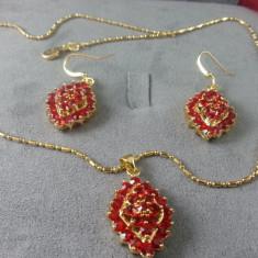Set de bijuterii deosebit luxury, Garnet Ruby placat cu Aur 18K - Set bijuterii placate cu aur