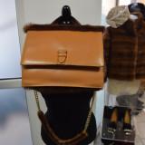Geanta originala Gianfranco Ferre din piele si blana naturala maro model vintage