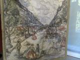 TAPISERIE PE MATASE  ELEGANTA SCENA DE GEN CHAMPS ELYSEE PARIS PIESA DE COLECTIE