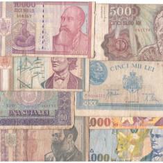 Romania 1943-1998 - lot 8 bancnote diferite, uzate - Bancnota romaneasca