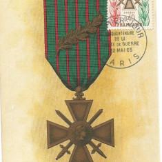 No(1)- ilustrata maxima-FRANTA-Decoratii-Croix de Guerre 1965, Europa, Militar