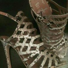 Sandale piele de sarpe - Sandale dama Asos, Culoare: Camel, Marime: 36