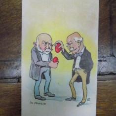 In Familie, Caricatura semnata de N. P. Gaina, carte postala ilustrata - Harta Europei
