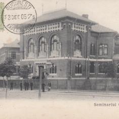 BUCURESTI, SEMINARIUL CENTRAL, CLASICA, TCV, CIRCULATA 1905 - Carte Postala Muntenia pana la 1904, Printata