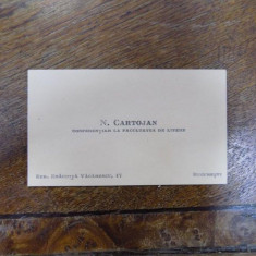 Cartea de vizita a lui N. Cartojan