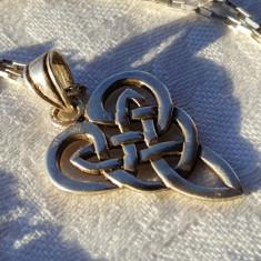 Medalion argint CELTIC vechi simbol Rar executat manual de Efect pe Lant argint
