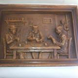 Tablou vechi, francee, sculptat in lemn - Sculptura