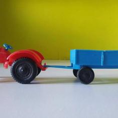 Tractor cu remorca detasabila, marca Leyla, West Germany, 23 cm, vintage - Jucarie de colectie