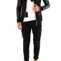 Geaca neagra toamna - geaca slim fit - geaca fashion - 7991 - Geaca barbati, Marime: S, M, XL, Culoare: Negru, Din imagine