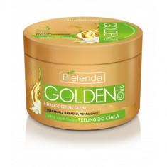 GOLDEN OILS Scrub de corp cu uleiuri pretioase de Babassu, Pasiflora, Fistic 200ml, Bielenda