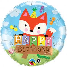 Balon Folie 45cm Happy Birthday Vulpe, Qualatex 25176