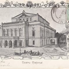 BUCURESTI, TEATRUL NATIONAL, CLASICA, TCV, CIRCULATA 1904 - Carte Postala Muntenia pana la 1904, Printata
