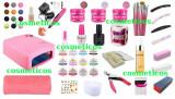 Cumpara ieftin Set Kit Unghii False Gel 12 Geluri Colorate Camuflaj Lampa Freza - BASE ONE