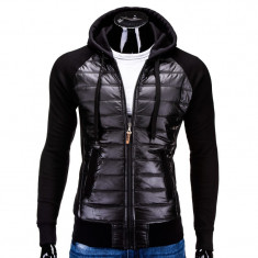 Hanorac barbati stil jacheta B578 Negru electric, Marime: S, M, L, XL, Bumbac