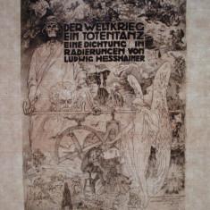 Rara! Gravura originala Ludwig Hesshaimer pe coala filigranata din 1921 - Litografie