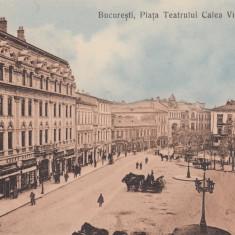 BUCURESTI, PIATA TEATRULUI CALEA VICTORIEI, HOTEL CONTINENTAL - Carte Postala Muntenia 1904-1918, Necirculata, Printata