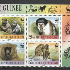 Fauna WWF maimute Guineea. - Timbre straine, Nestampilat