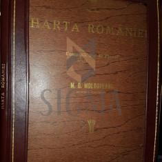 MOLDOVEANU M. D. - HARTA ROMANIEI (COMPUSA DIN 40 PLANSE COLOR), BRASOV, 1946