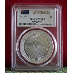 Australia / 1$ KANGAROO 2017-P Silver / PCGS MS69, Australia si Oceania, Argint