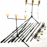 Kit Complet 3.6m Crap 3 Lansete,Mulinete Rod Pod Full Cu Avertizori Si Swingeri