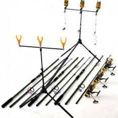Kit Complet 3.6m Crap 3 Lansete, Mulinete Rod Pod Full Cu Avertizori Si Swingeri - Set pescuit