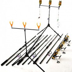 Kit Complet 3.6m Crap 3 Lansete, Mulinete Rod Pod Full Cu Avertizori Si Swingeri - Set pescuit