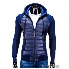 Hanorac barbati stil jacheta B578 Bleumarin, Marime: L, XL, Bumbac