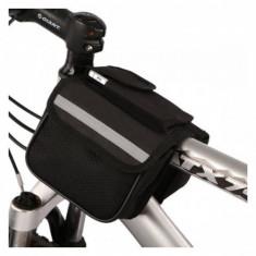 Borseta cadru bicicleta, 2 compartimente, buzunar telefon, impermeabila - Accesoriu Bicicleta