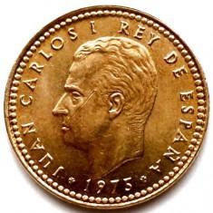 SPANIA, JUAN CARLOS I, 1 PESETA 1975, PRIMUL AN DE BATERE 21mm., Europa, Bronz