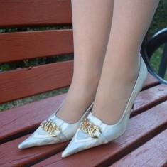 Pantof cu toc inalt, nuanta de argintiu, varf ascutit, detaliu auriu (Culoare: ARGINTIU, Marime: 38) - Pantof dama