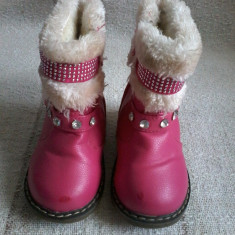 Cizme imblanite pentru fetite marimea 22 - Reducere - Cizme copii, Culoare: Roz, Fete, Piele sintetica