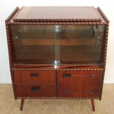 Comoda TV Vintage, influente Stil Rococo; Dulap cu blat rotativ si Vitrina - Comoda dormitor
