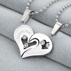 Pandantiv / Colier / Lantisor - I LOVE YOU - Pentru Cuplu - Argintiu