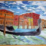 Pictura GONDOLA ulei pe panza 90 x 60 cm 2017 - Pictor roman, Peisaje, Impresionism