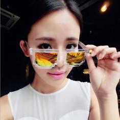 Ochelari Soare Unisex Trendy - MINECRAFT MODEL - Transparent + Auriu, Plastic