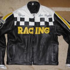 Geaca Racing 66 moto/motor/biker/motociclist, piele groasa, marimea XL - Geaca barbati, Culoare: Negru