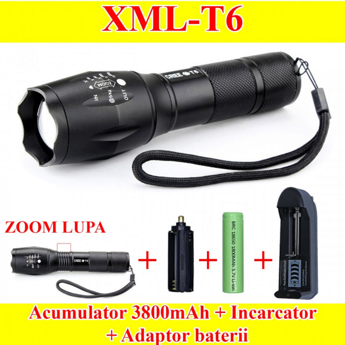 Lanterna LED CREE XML T6 cu ZOOM + Acumulator 3800mAh REALI+ Incarcator retea foto mare