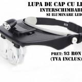 Lupa de cap cu lentine interschimbabile iluminat cu LED - Lanterna